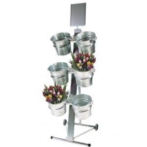 Salgsstativ til blomster med 6 zinkspande