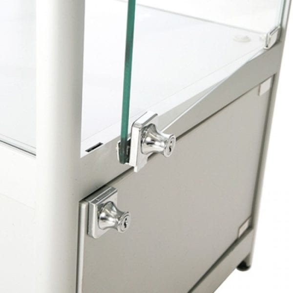 Showcase Counter, Solo - glasvitrine skab sølv LED lys