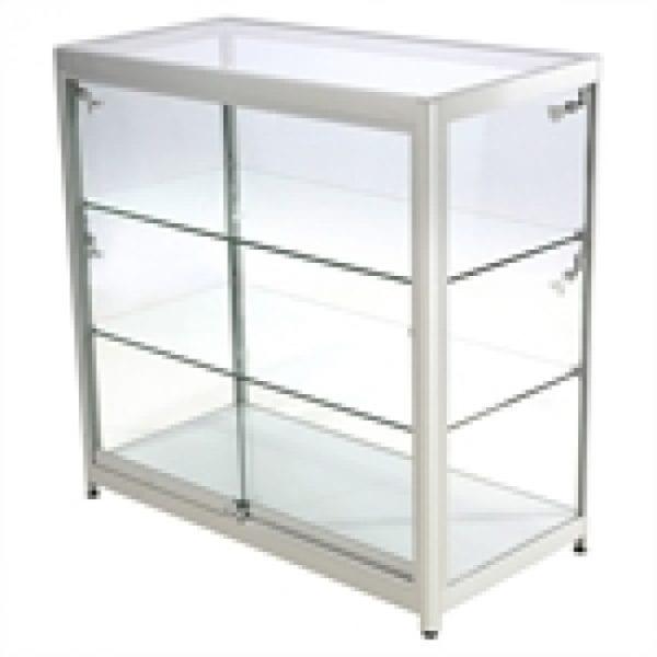 Showcase Counter, Duo - glasvitrine sølv LED lys