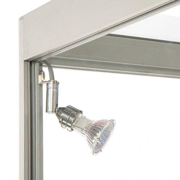 Showcase Counter Duo - glasvitrine sølv skab LED lys