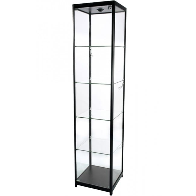 Showcase Tower, Solo - glasvitrine sort LED lys