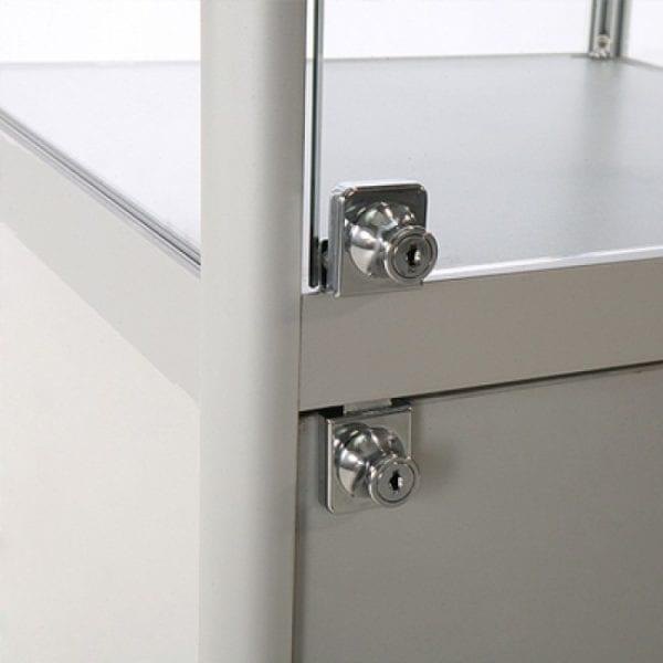 Showcase Tower, Solo - glasvitrine skab sølv LED lys