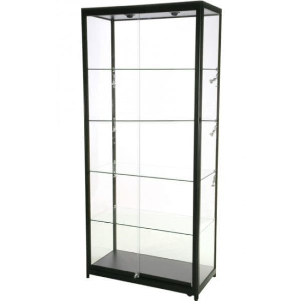 Showcase Tower, Duo - glasvitrine sort LED lys