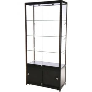 Showcase Tower, Duo - glasvitrine skab sort LED lys