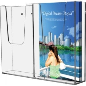 Akryl Brochureholder 2xM65 væg indendørs
