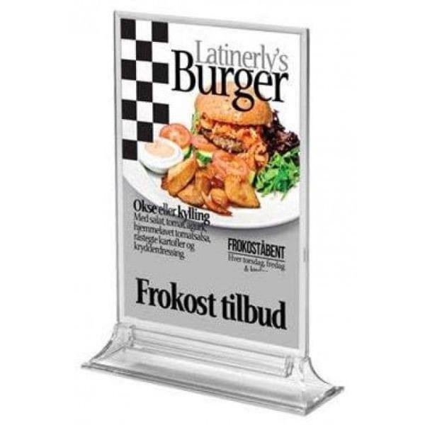 Dobbeltsidet  menukortholder A4