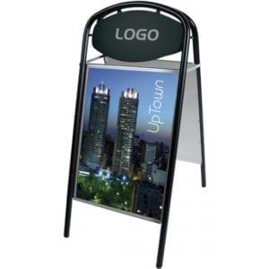 Fortovsskilt Expo Ellipse med logoplade 50x70 cm sort