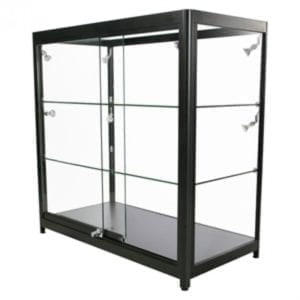 Showcase Counter, Duo - glasvitrine sort LED lys