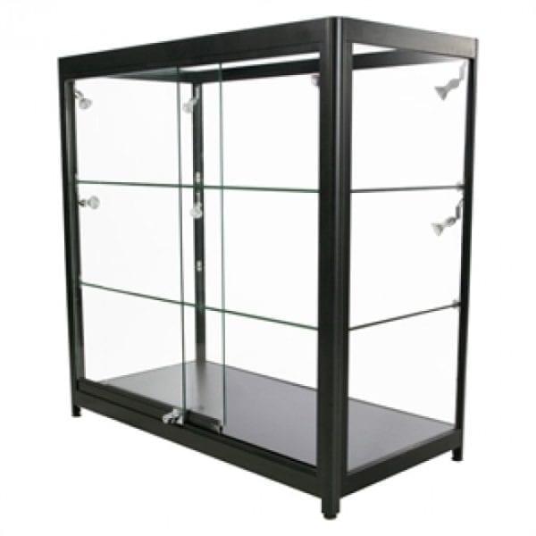 Showcase Counter, Duo - glasvitrine sort LED lys