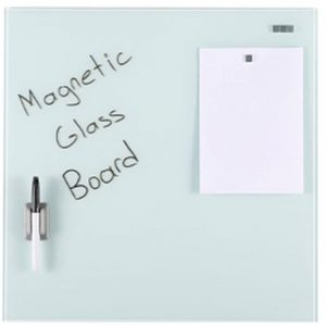 Glastavle magnetisk 45x45 cm hvid