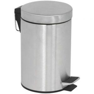 Affaldsspand med pedallåg 5 liter sølv