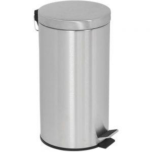 Affaldsspand med pedallåg 20 liter sølv