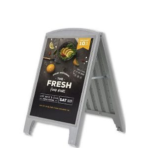 Plast A-board A1 Gadeskilt grå